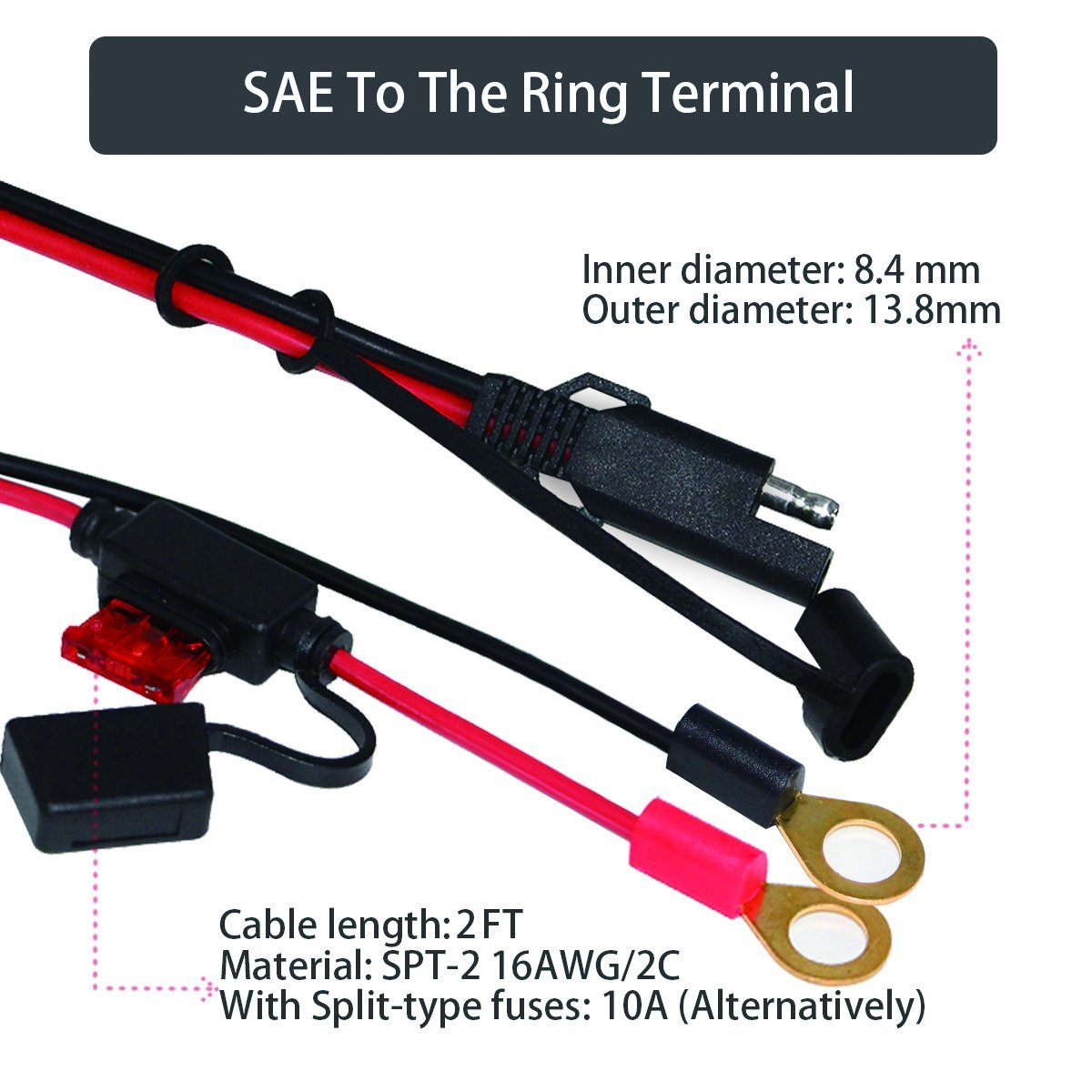 Ring Terminal Wiring Harness 2 Pin Quick Disconnect Plug Sae 12v Adapter Feet Cord Adaptor Cable Spt 216awg 2c Length Color Red Black With 10a Fused For Electrical Protection Fast And Easy To Connect