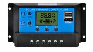 12V / 24V Auto Switch  Solar Charge Controller with LCD and Dual USB Ports
